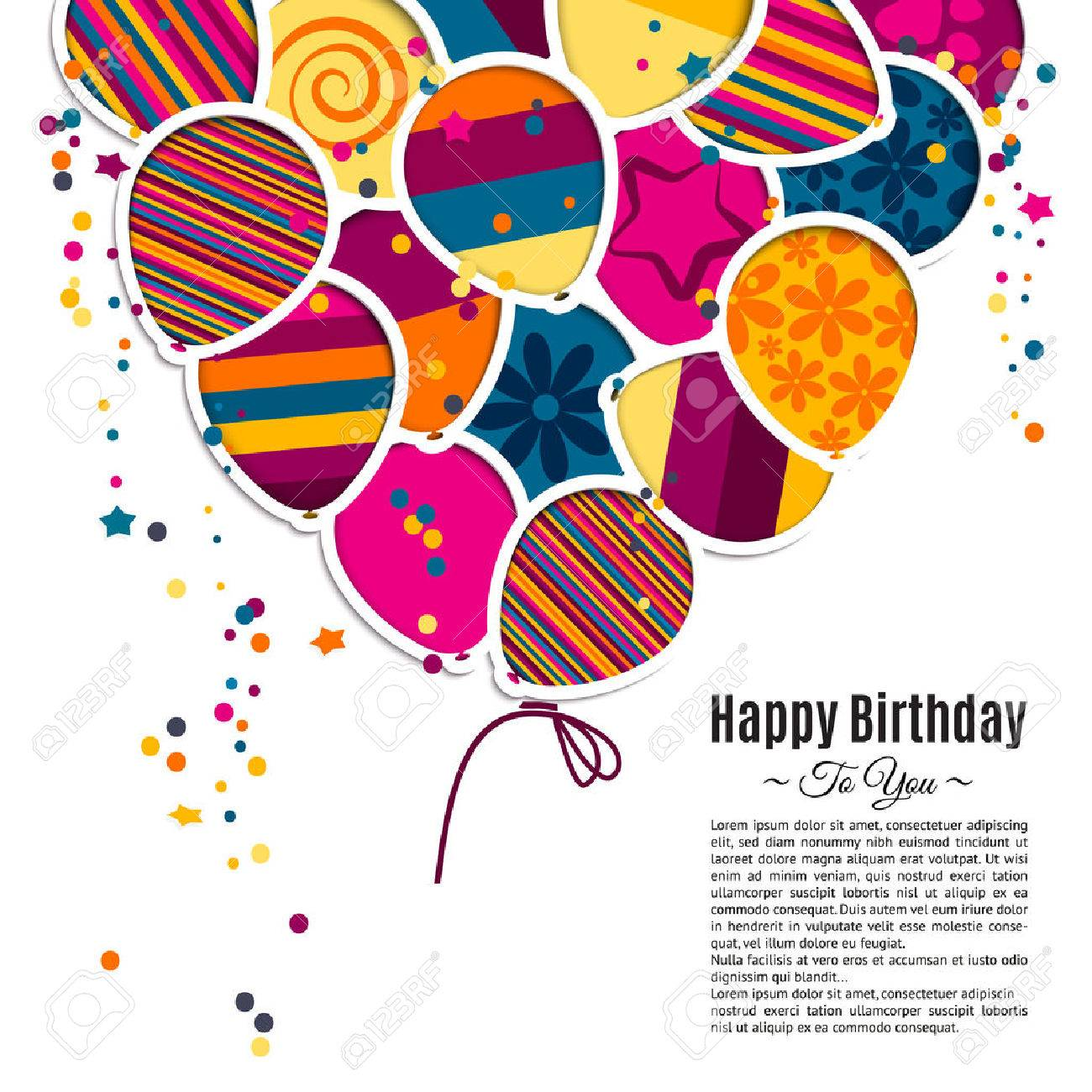 Vector birthday card with paper balloons in the style of cutouts. - 43834759
