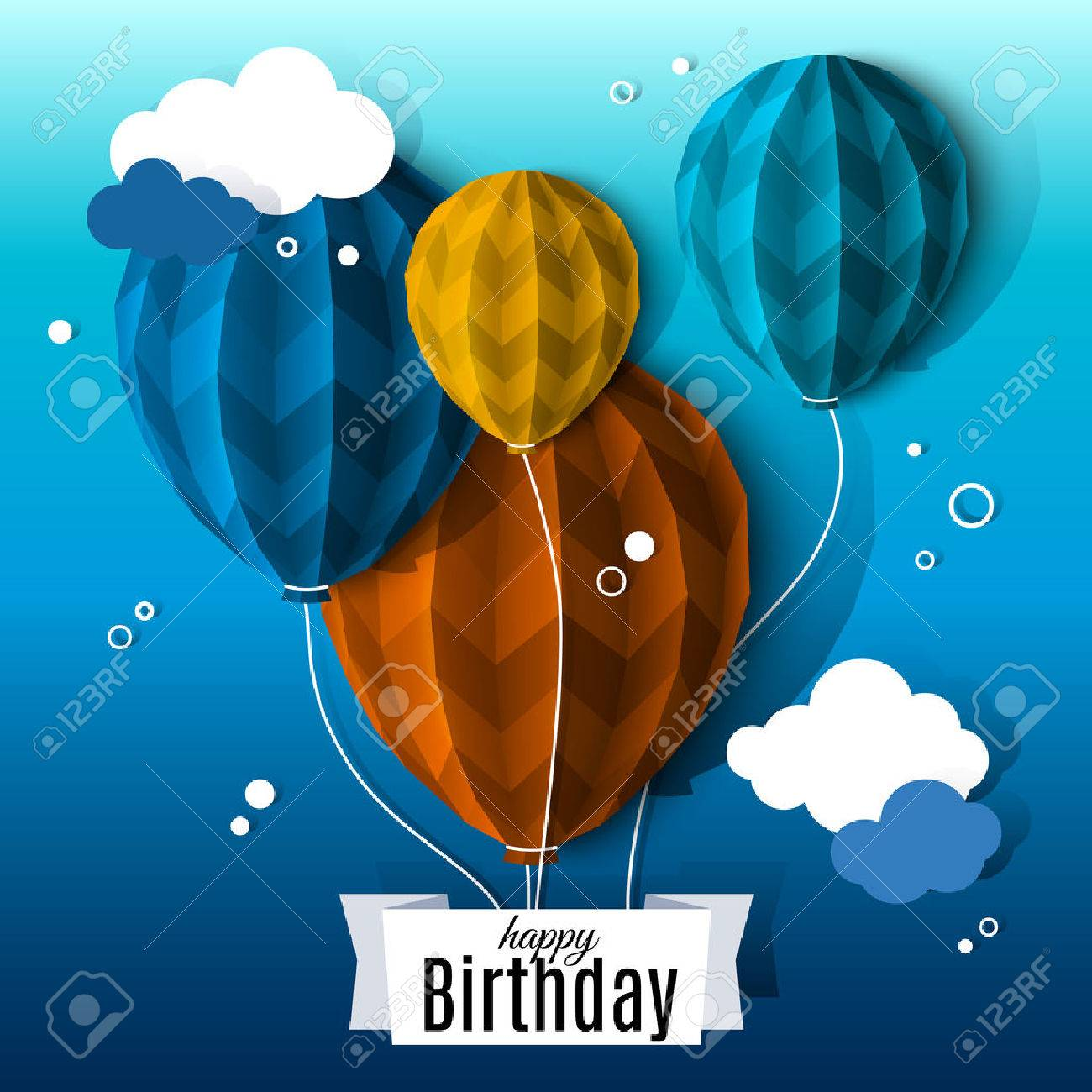 Birthday card with balloons in the style of flat folded paper. - 45765771