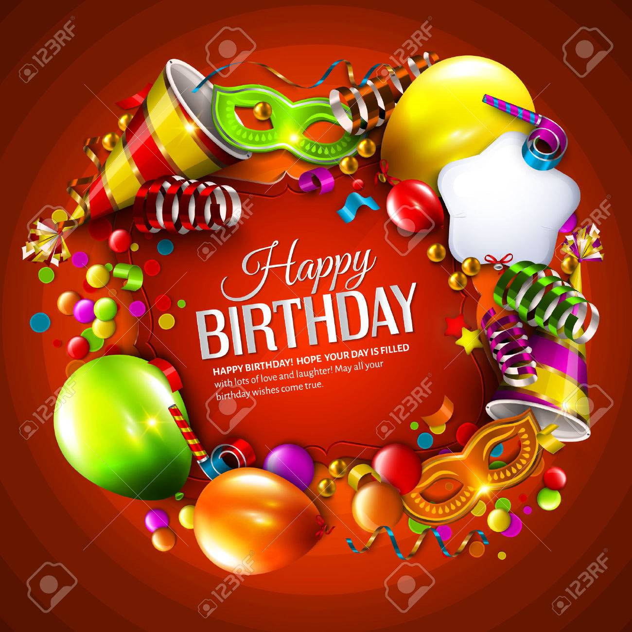 Vector birthday card with colorful balloons, curling ribbons, carnival mask, hat and confetti on orange background. - 46174212