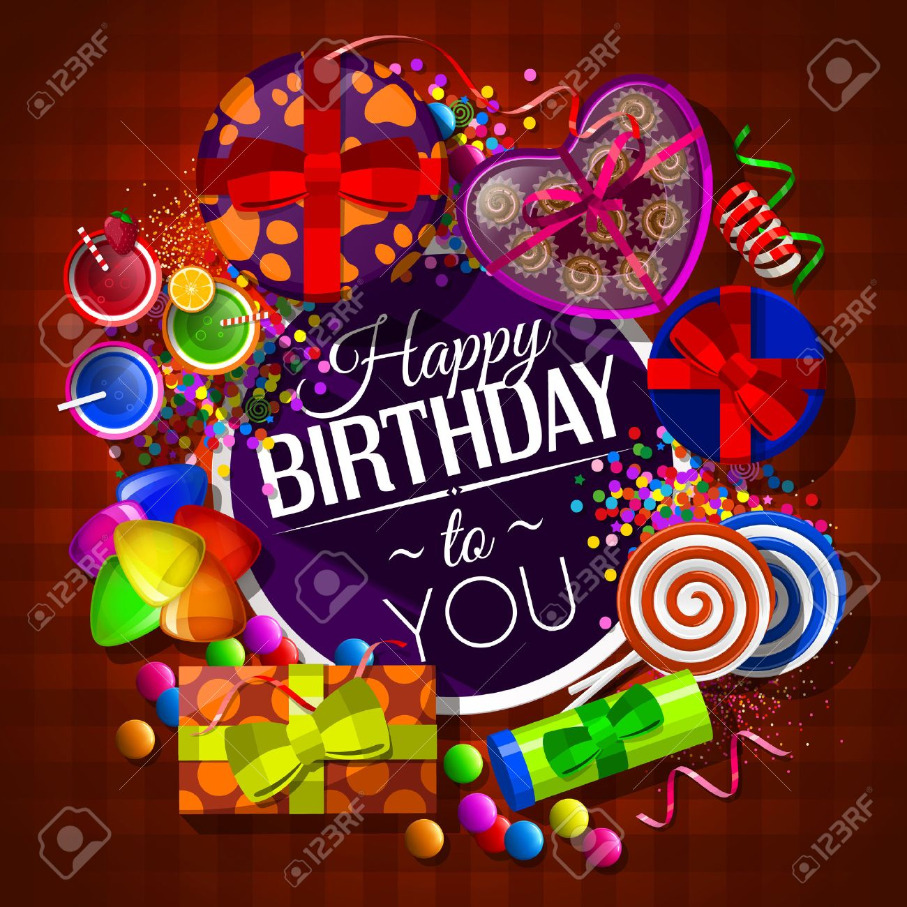 Birthday card with gift boxes, cocktails, lollipops, box of chocolates and confetti. - 47354190