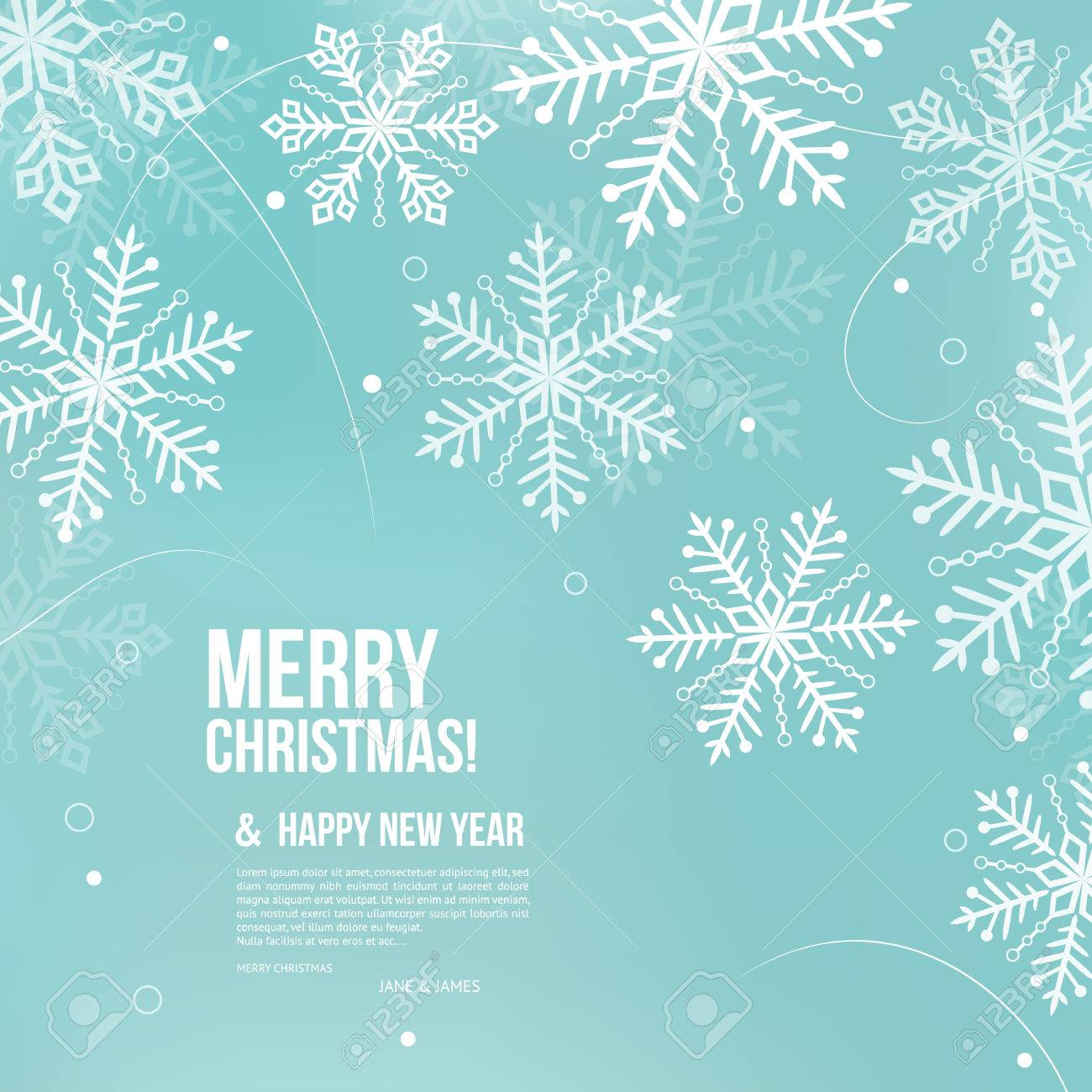 Abstract Christmas card with snowflakes and wishing text. - 48544824