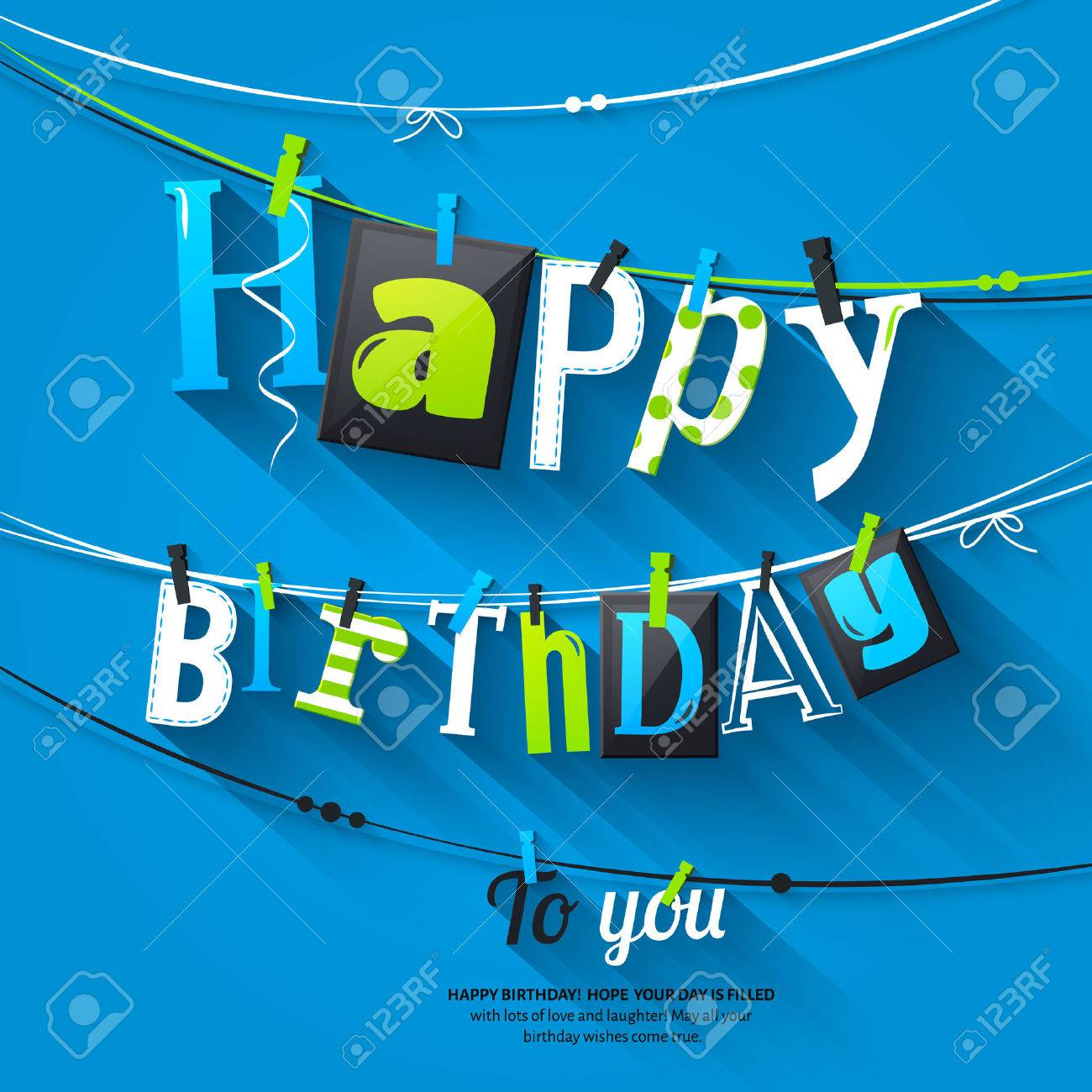 Birthday card. Clothespin and colorful letters hang on rope. - 54007536