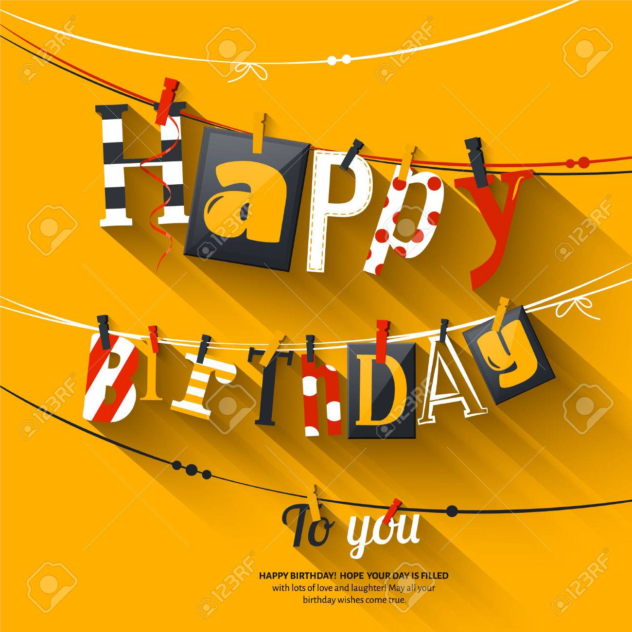 Birthday card. Clothespin and colorful letters hang on rope. - 54754486
