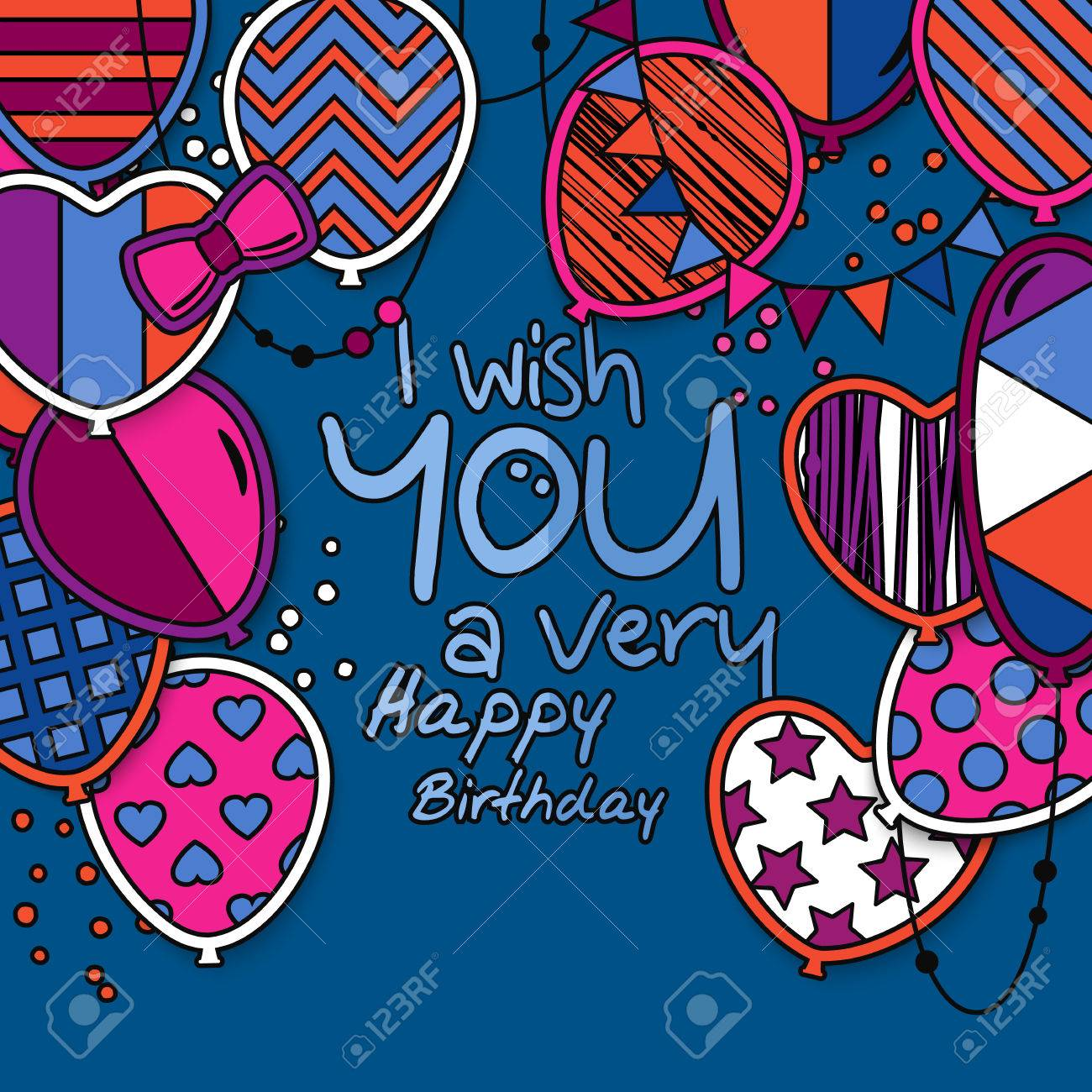 Happy birthday greeting card  Patterned balloons with stars polka