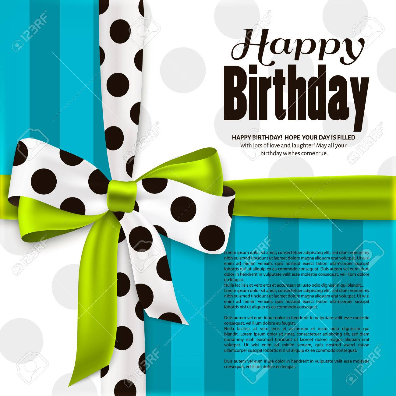 Happy birthday greeting card. Green bow and ribbon with black polka dots made from silk. Stripes and dotted paper. - 60889454