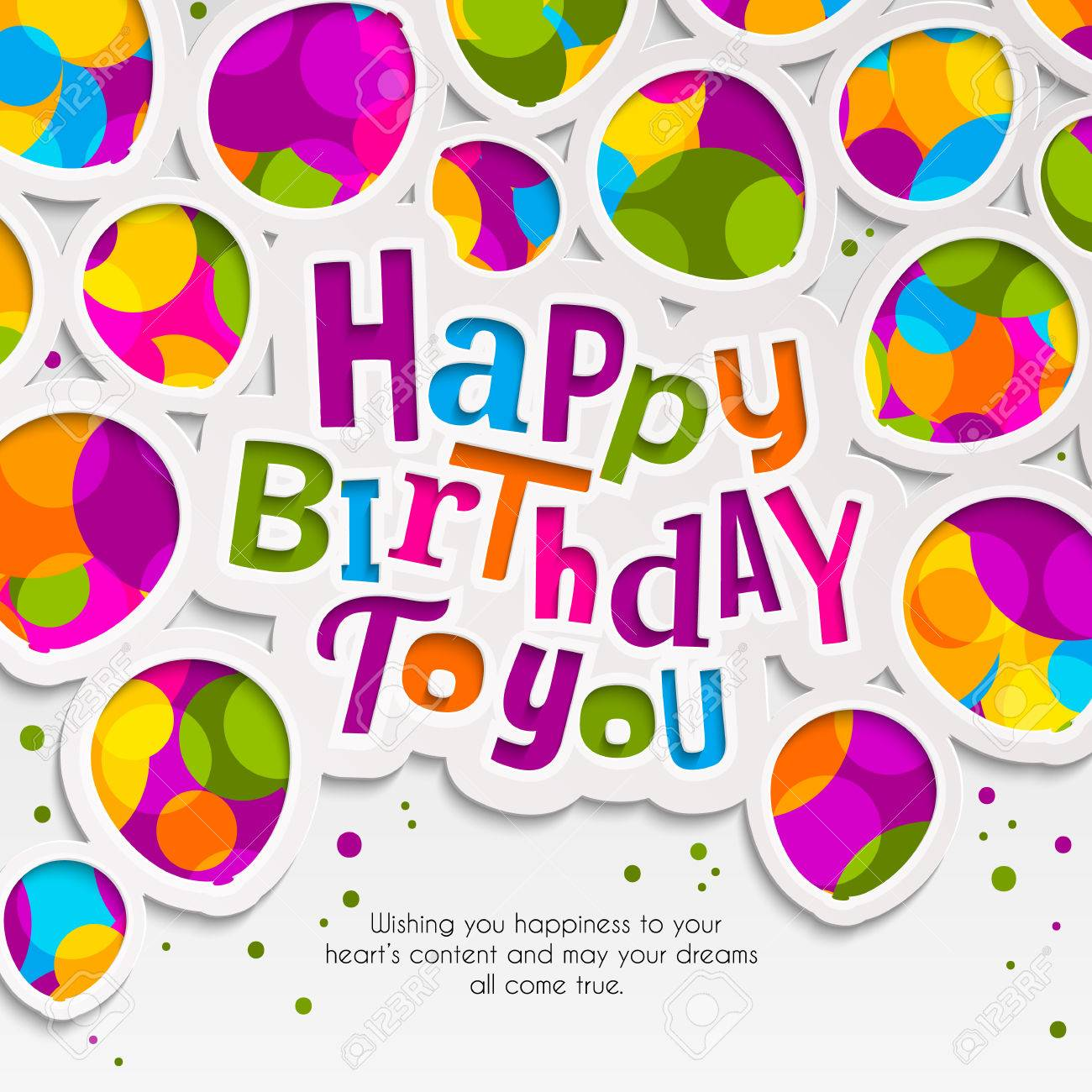 Happy Birthday Greeting Card Paper Balloons In The Style Of