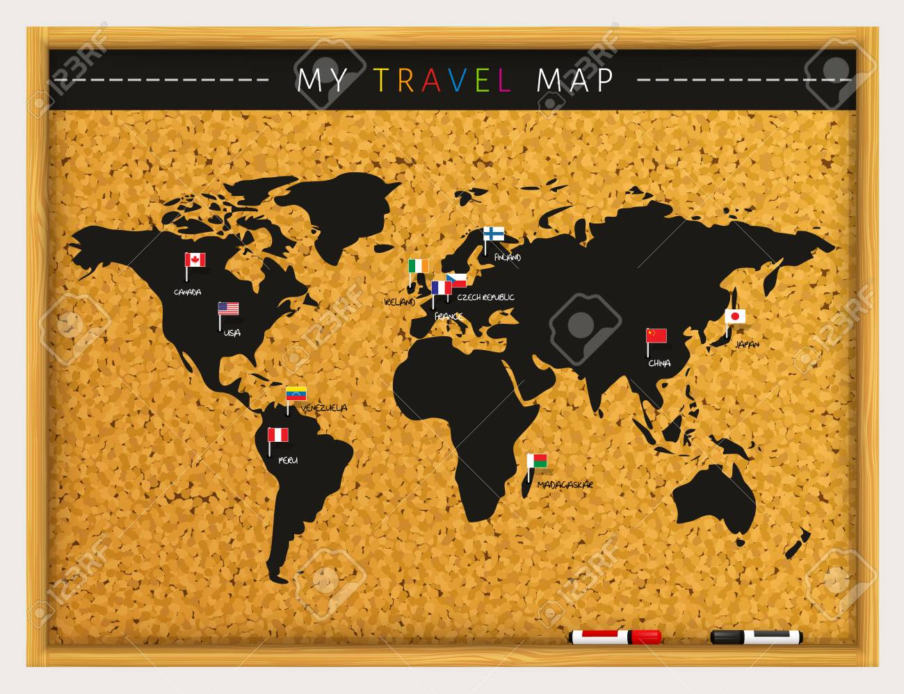Travel map with flags map pointers and marker pens on cork board travel map with flags map pointers and marker pens on cork board vector stock sciox Image collections