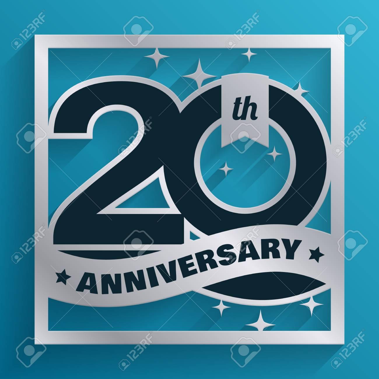 Aniversario De Plata De Los 20 Años De Diseño Aislados Sobre Fondo Azul Tarjeta De Invitación Para La Celebración De La Empresa Y La Invitación