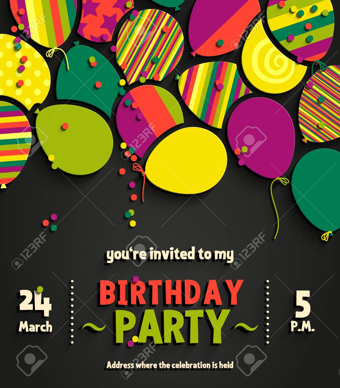 Birthday Party Invitation Card With Colorful Flat Balloons