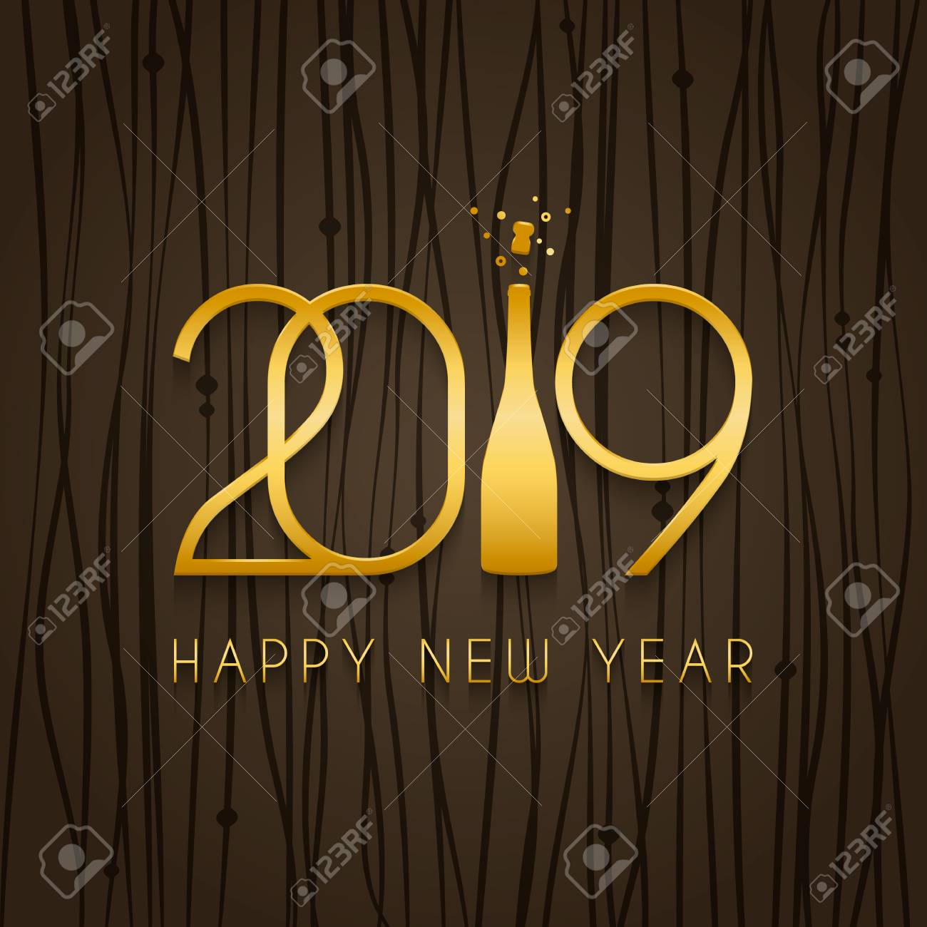 2019 happy new year design template for holiday greeting card and invitation gold numbers