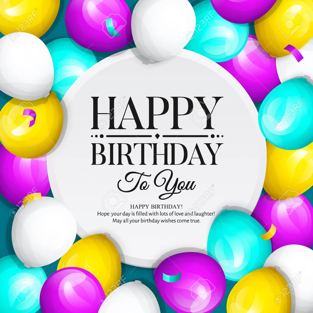Happy Birthday Greeting Card Bunch Of Colorful Balloons And Confetti Stylish Lettering On Background