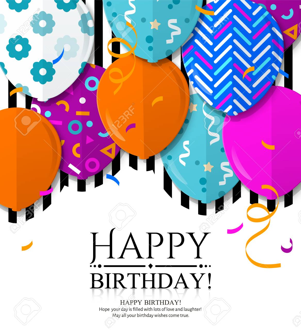 Happy Birthday greeting card with patterned balloons in flat style. Confetti and black stripes on background. Vector. - 120210682