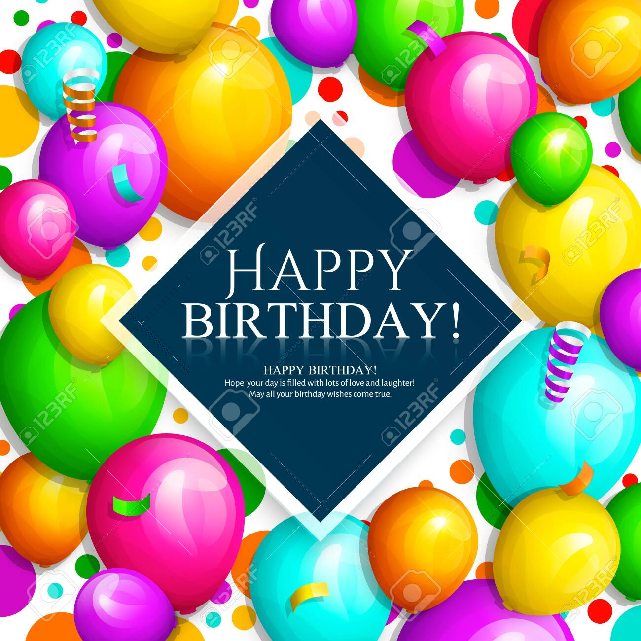 Happy Birthday greeting card. Bunch of colorful balloons and confetti. Stylish lettering on background. Vector. - 120210694