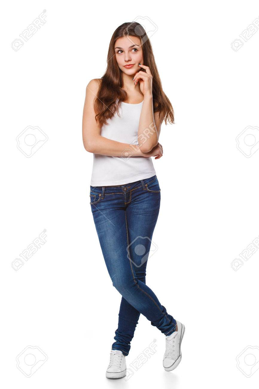 Young beautiful woman thinking looking to the side at blank copy space, full length, isolated over white background - 53881411