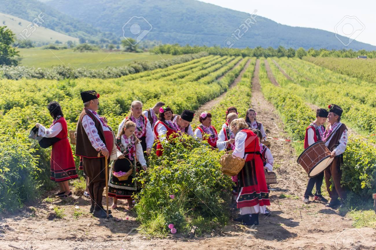Gorno Izvorovo Bulgaria 29 De Mayo 2016 Búlgara Recoger Ritual Anual Rose La Gente Cantando Y Bailando Vestido Con Ropa Tradicional