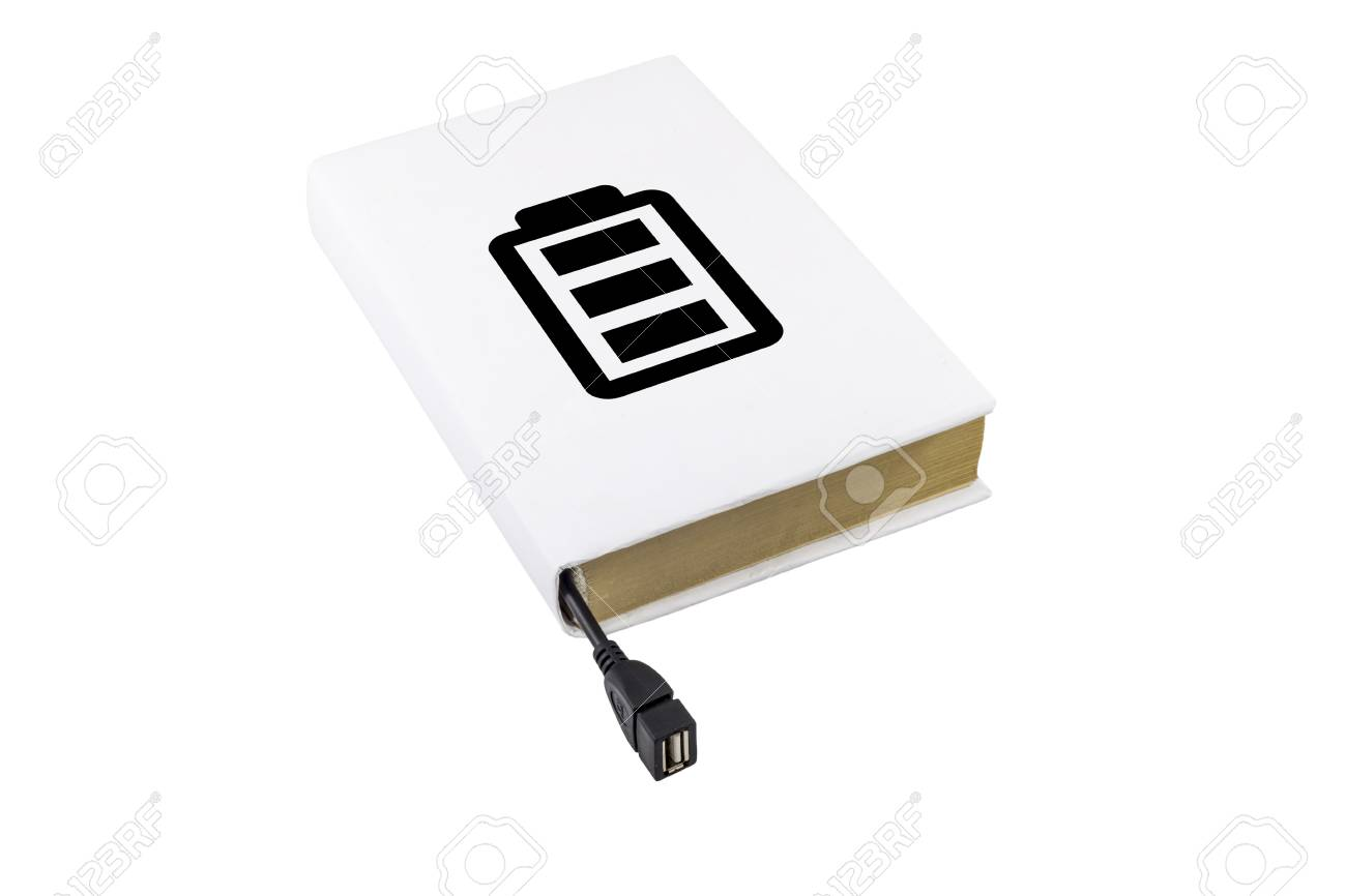 Book With Battery Symbol Connected To An Usb Cable Stock Photo