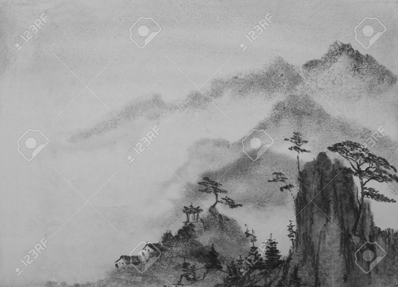 f6aa6f559 Chinese Painting Mountain Pines And Clouds Stock Photo, Picture And ...