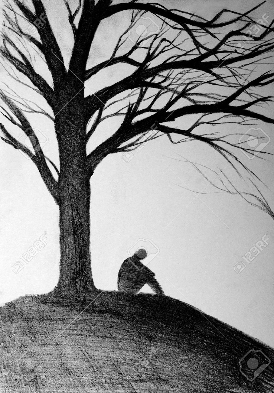 silhouette of a man sitting under a tree - 55200193