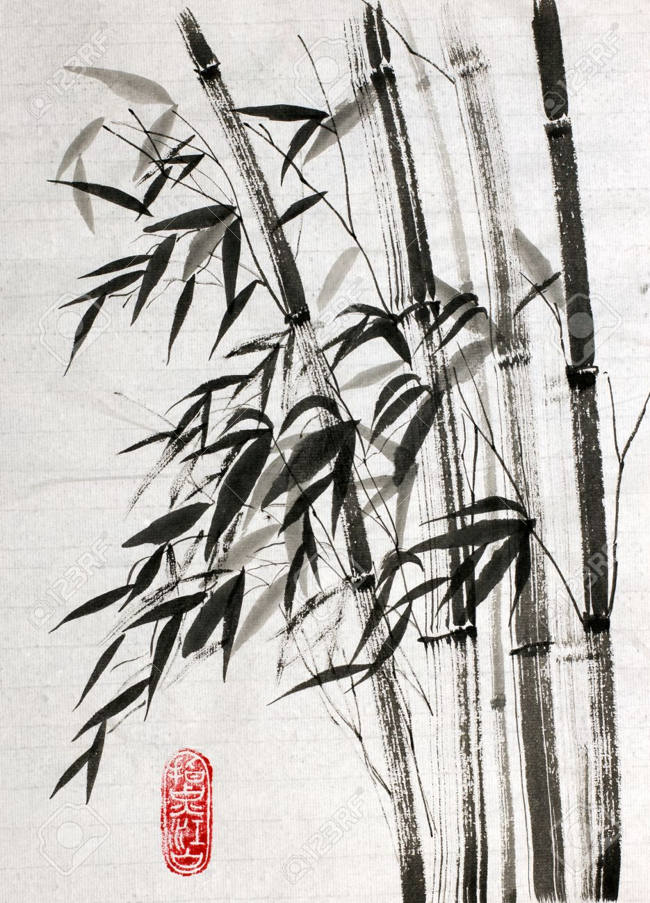 Bamboo Drawing On Rice Paper Stock Photo Picture And Royalty Free Image Image 63889260