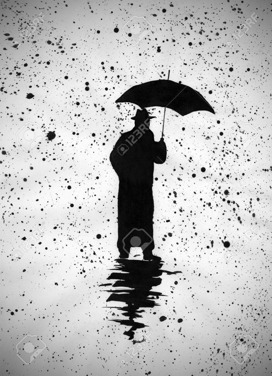 lonely man with an umbrella in the rain stock photo picture and