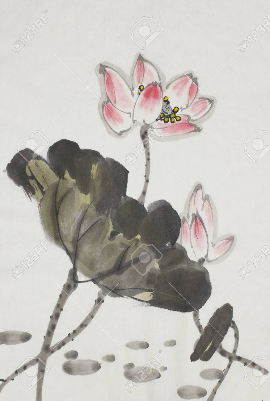 Pink lotus flower painted in chinese style stock photo picture and pink lotus flower painted in chinese style stock photo 84970539 izmirmasajfo