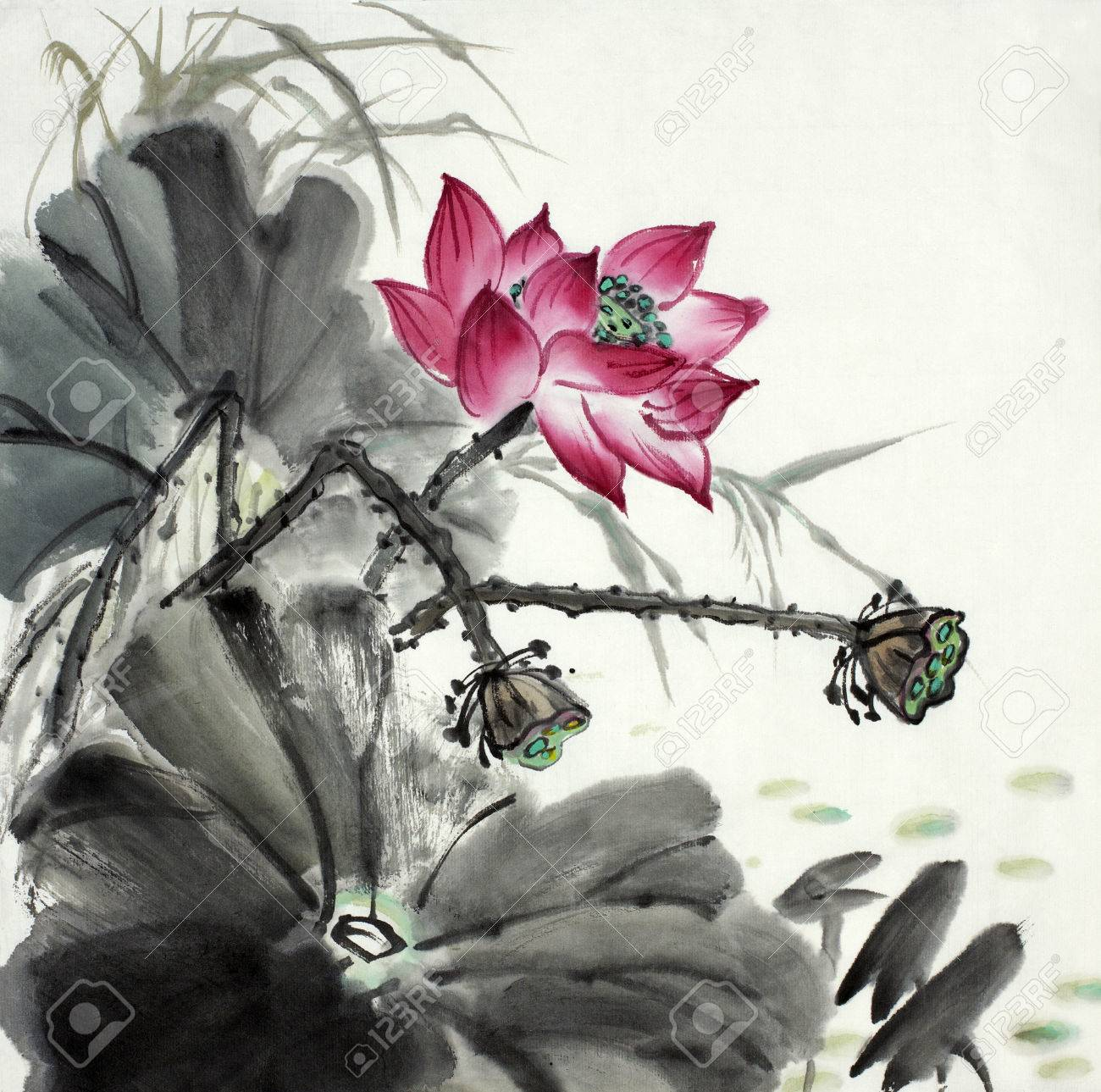Lotus flower painted in chinese style ink stock photo picture and lotus flower painted in chinese style ink stock photo 85037788 izmirmasajfo
