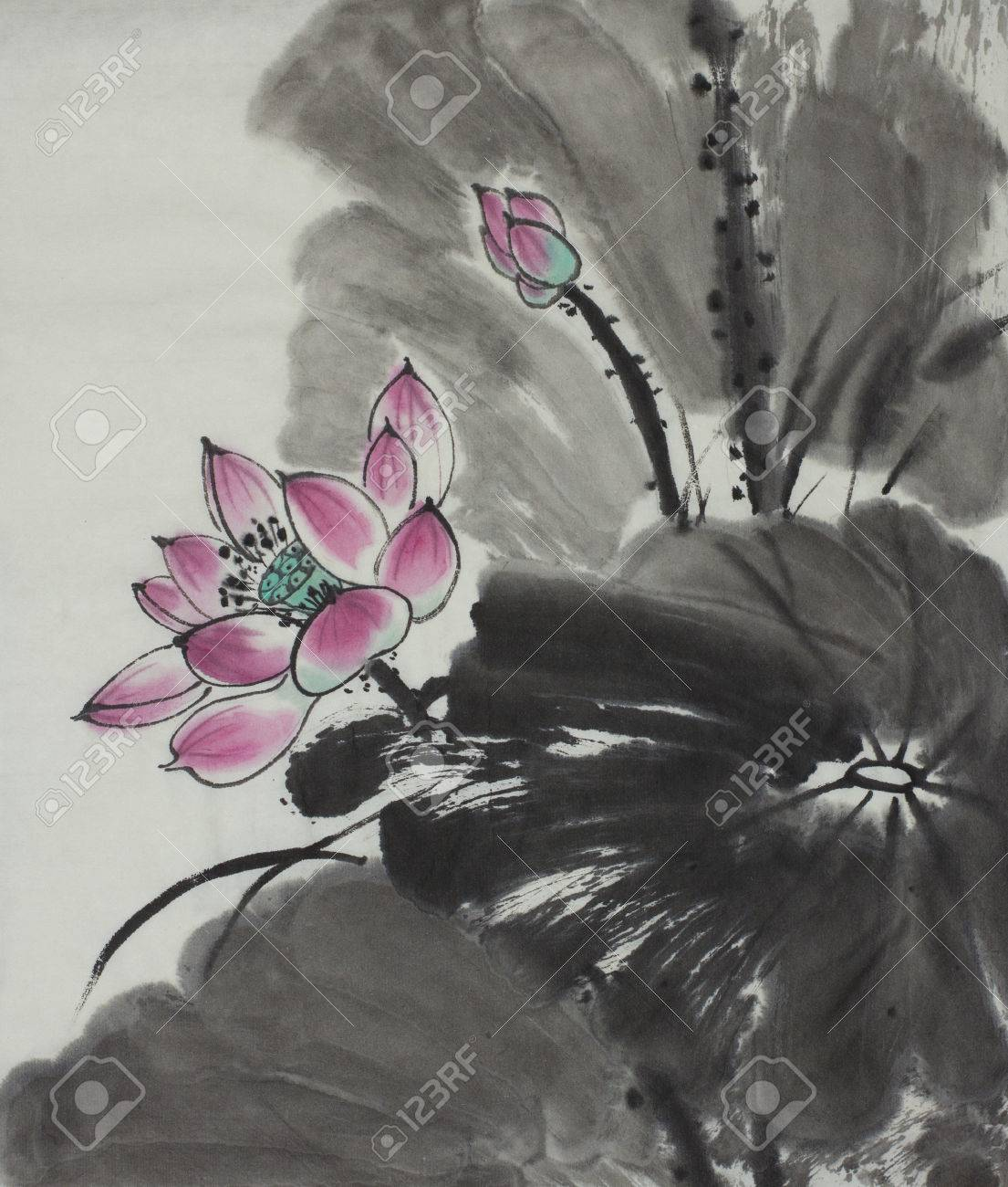 Bright lotus flower painted in chinese style stock photo picture bright lotus flower painted in chinese style stock photo 85450485 izmirmasajfo