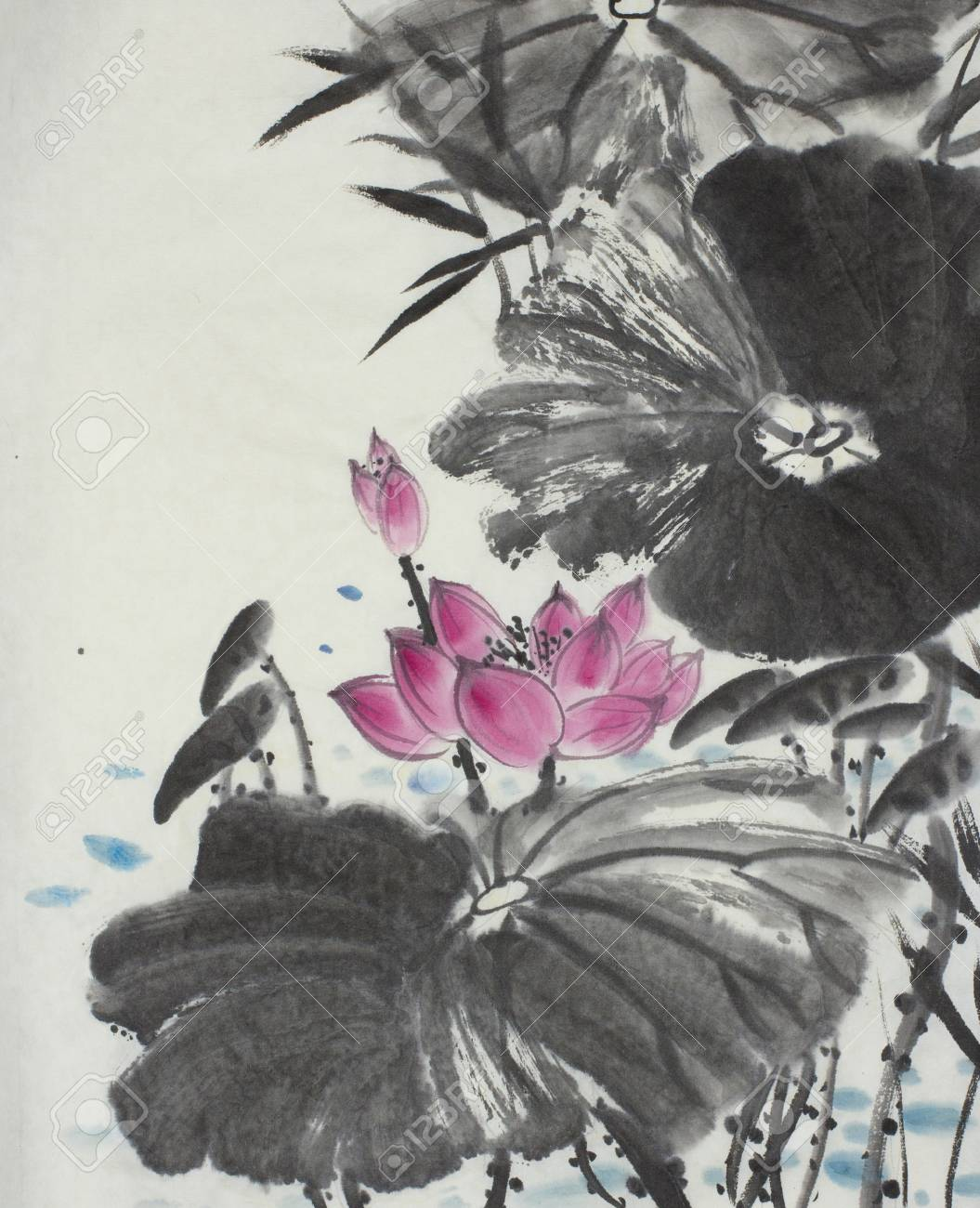 Bright lotus flower painted in chinese style stock photo picture bright lotus flower painted in chinese style stock photo 85605009 izmirmasajfo
