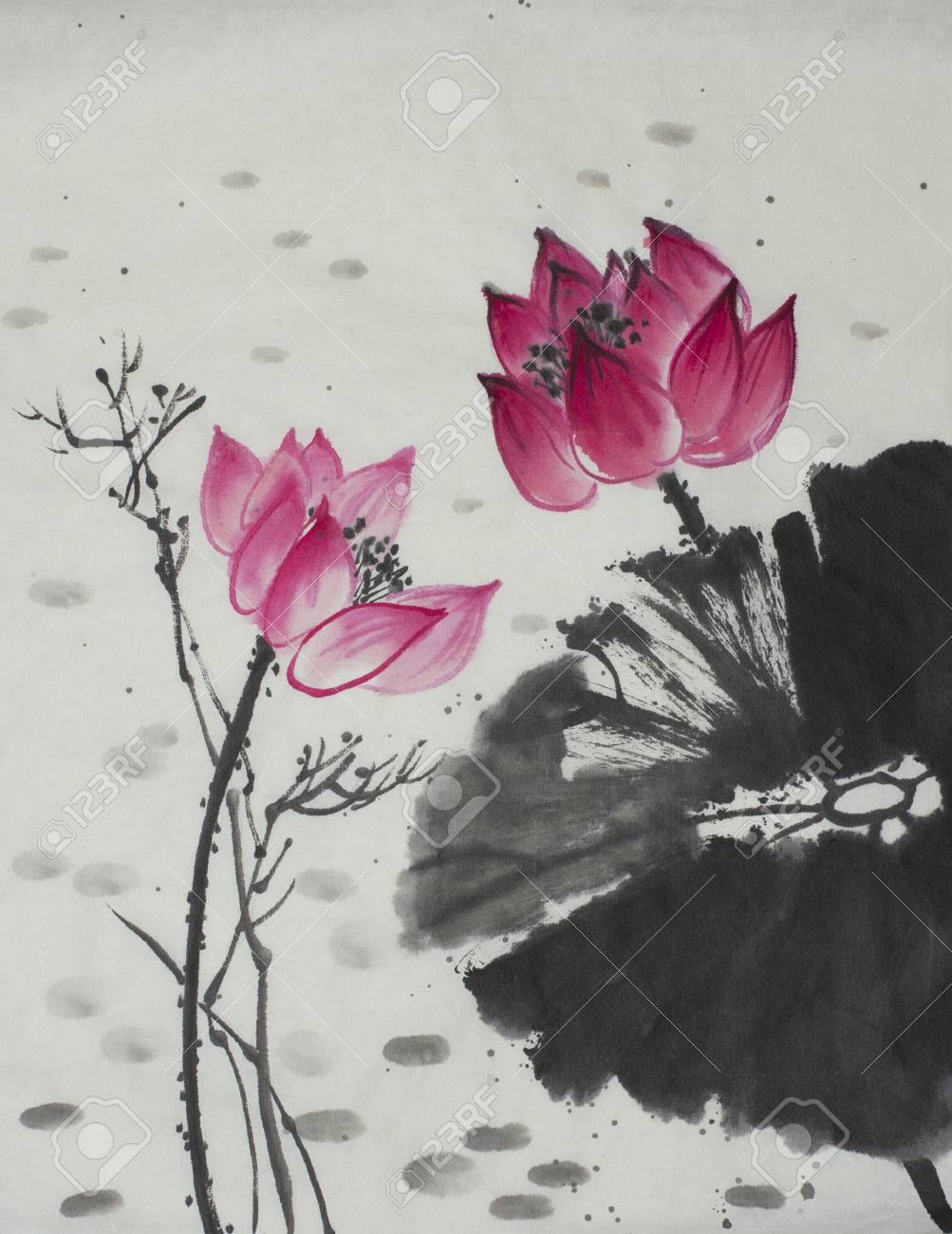 Bright Lotus Flower Painted In Chinese Style Stock Photo Picture