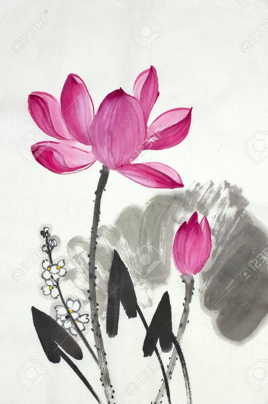 Lotus Flower And Arrow Painter Painted In Chinese Style Stock Photo