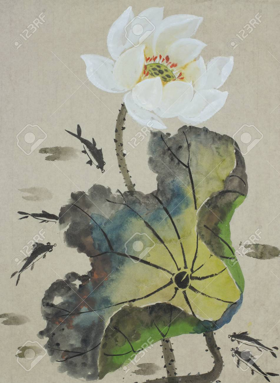 Lotus flower and fishes painted in chinese style stock photo lotus flower and fishes painted in chinese style stock photo 85893235 izmirmasajfo