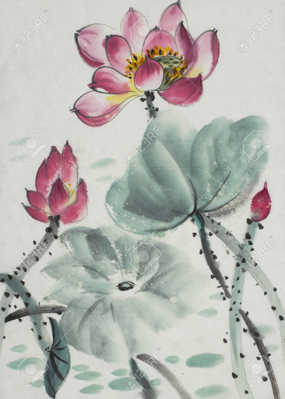 Flowering lotus painted in chinese style stock photo picture and flowering lotus painted in chinese style stock photo 87600703 izmirmasajfo