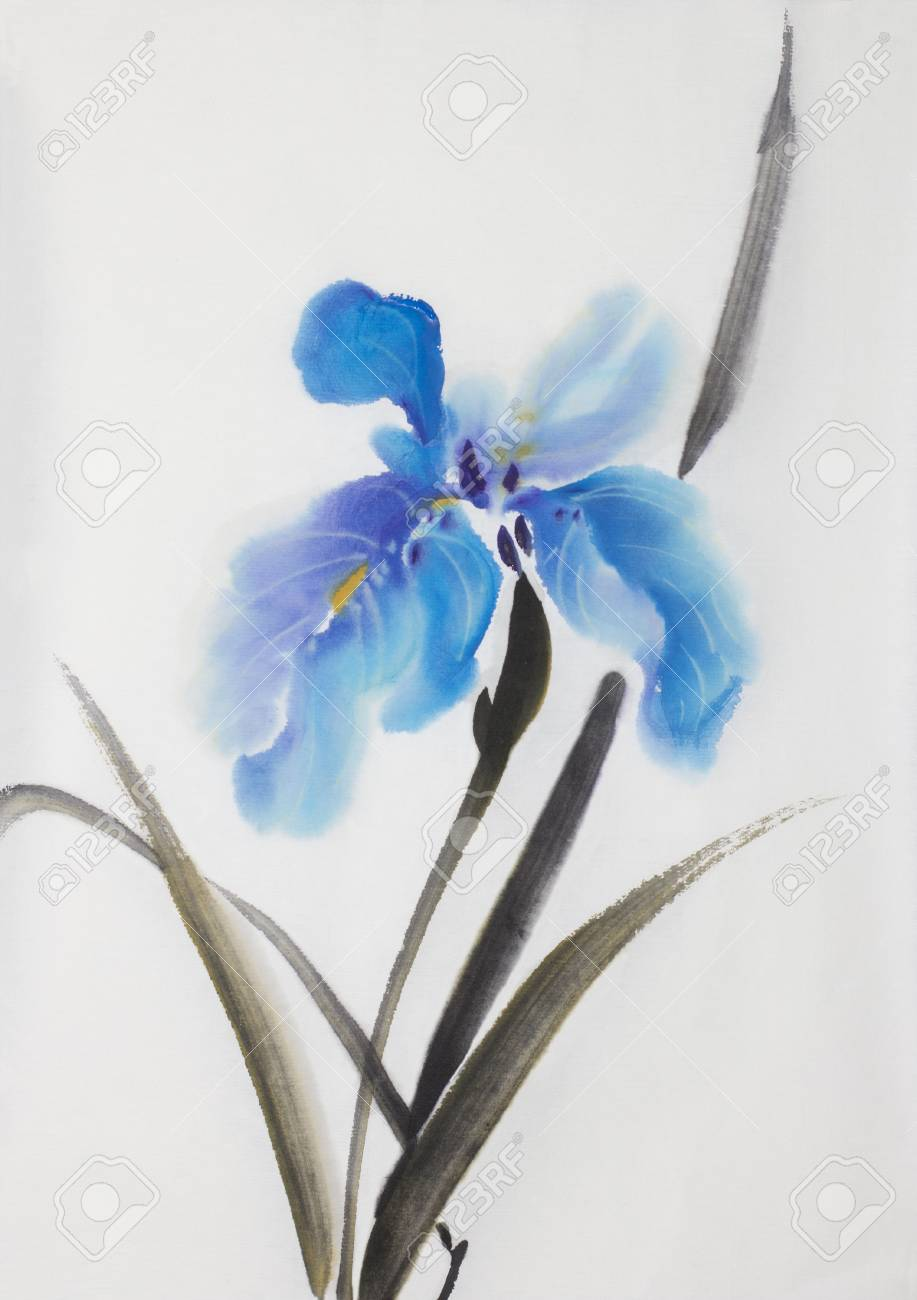 Gently Blue Iris Flower Painted In Chinese Style Stock Photo