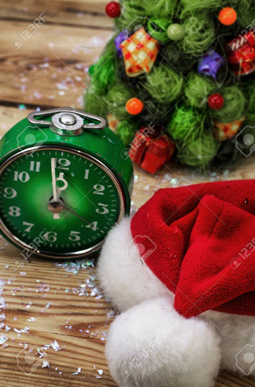 Postcard With Green Old-fashioned Clock And Christmas Ornaments ...