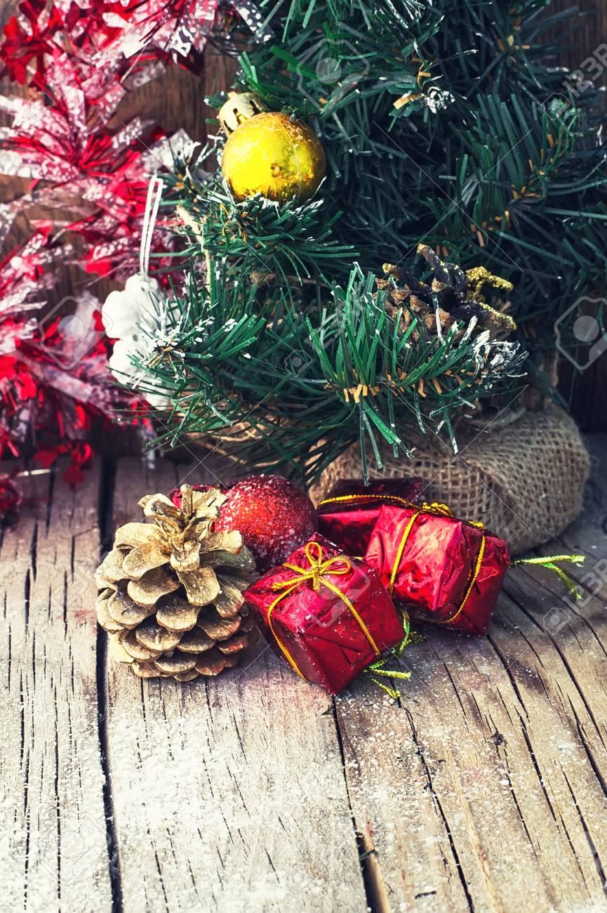 Old Fashioned Christmas Decoration On Wooden Background Stylish ...