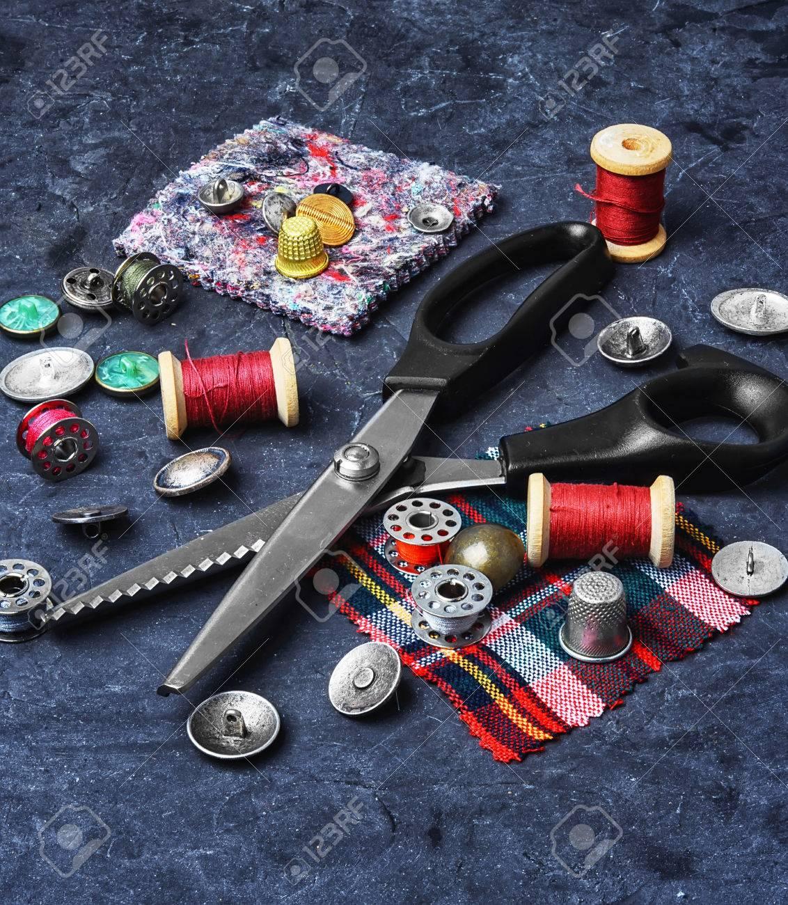 Schere, Nähen, Textil-, Material, Handwerk, Faden, Schneider ...