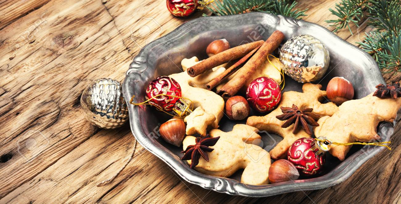homemade christmas cookies and new year baublechristmas background stock photo 90494879 - Homemade Christmas Cookies