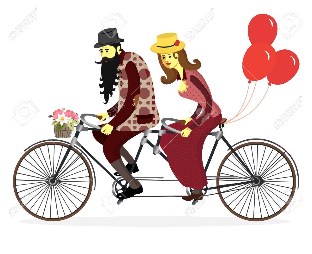 カップル男性と女性が風船と自転車を愛する自転車に乗ってかわいい恋人
