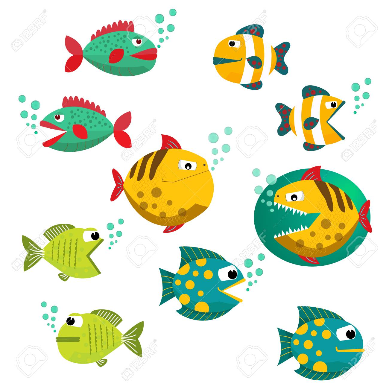 Cute Fish Vector Illustration Icons Set Fish Icons Isolated