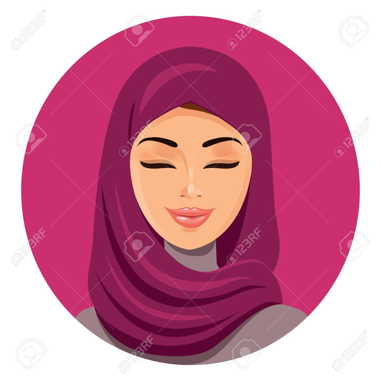 Mujer rabe Musulmn Hermosa Del Hijab Cerrando Los Ojos De Vectores