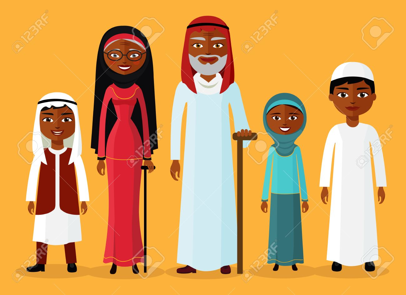 Petit Fils Arabe Petite Fille Grand Mère Et Grand Père Debout Ensemble Et Sourire Musulman Dessin Animé Famille Vecteur De Caractères