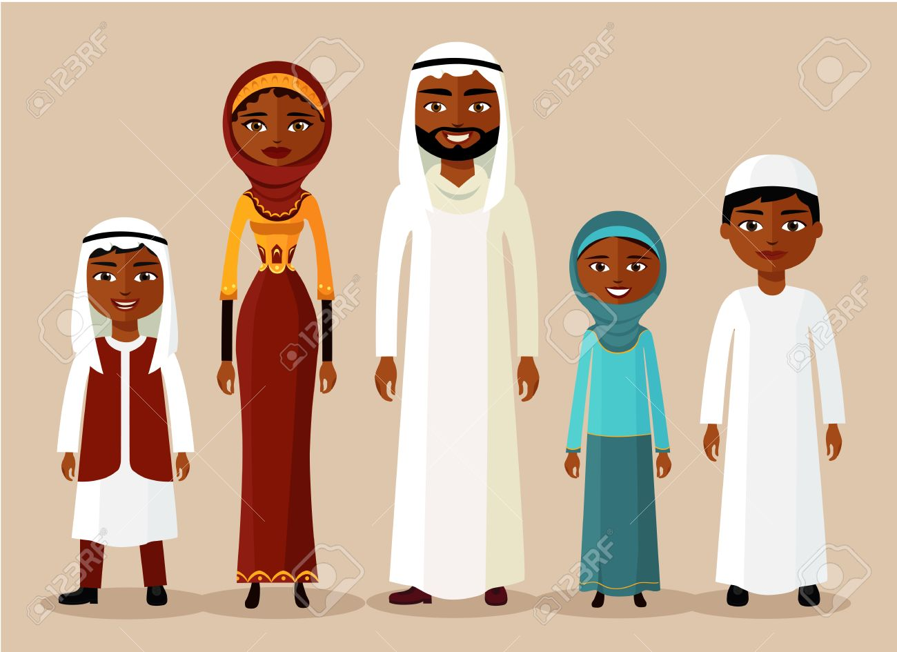 Happy muslim arabic family in flat style  Arab people father,