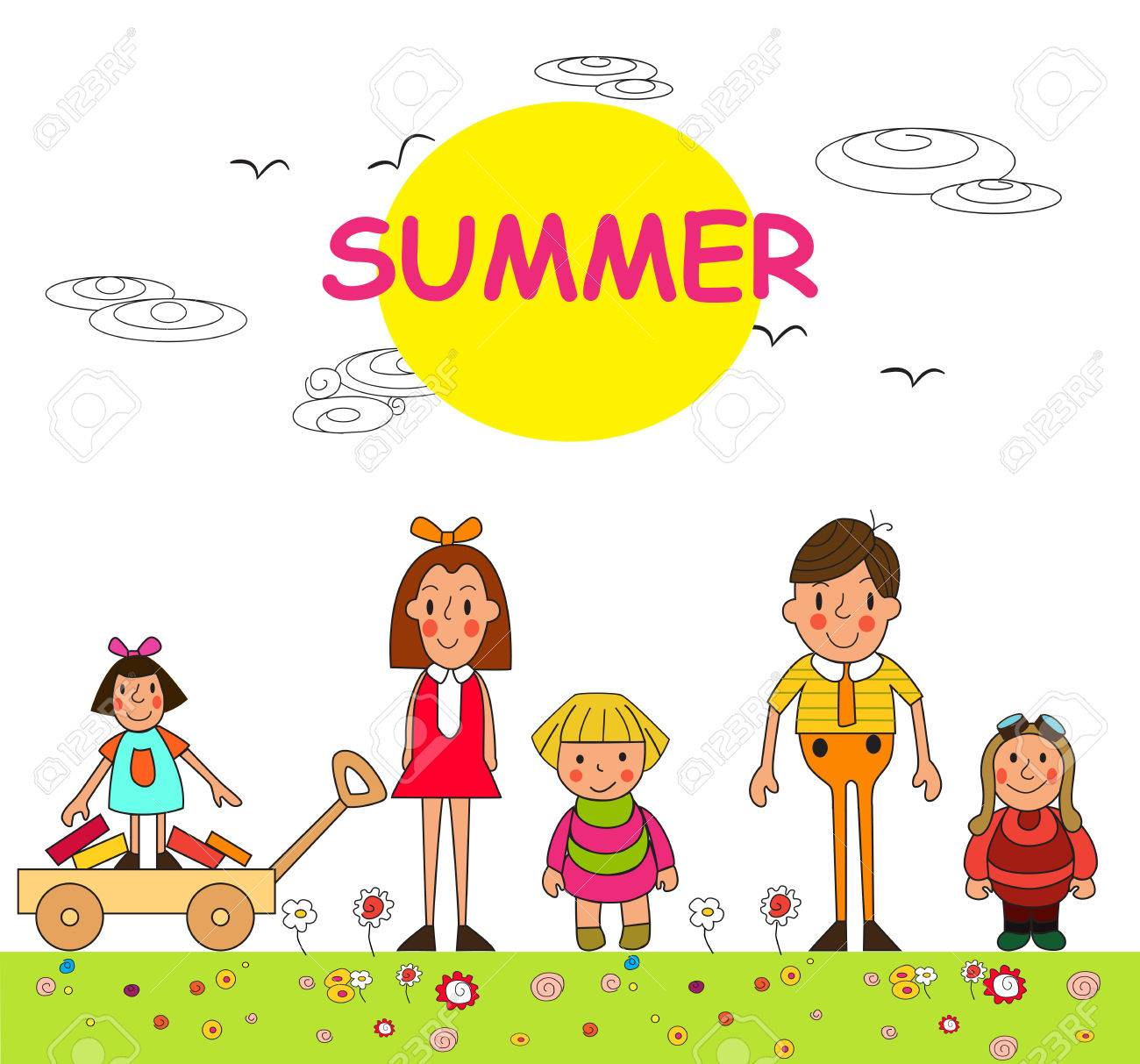 Group Of Children Summer Boys And Girls Vacation In Park Vector