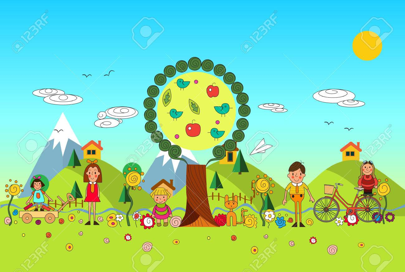 vector cartoon illustration of a group of happy children boys