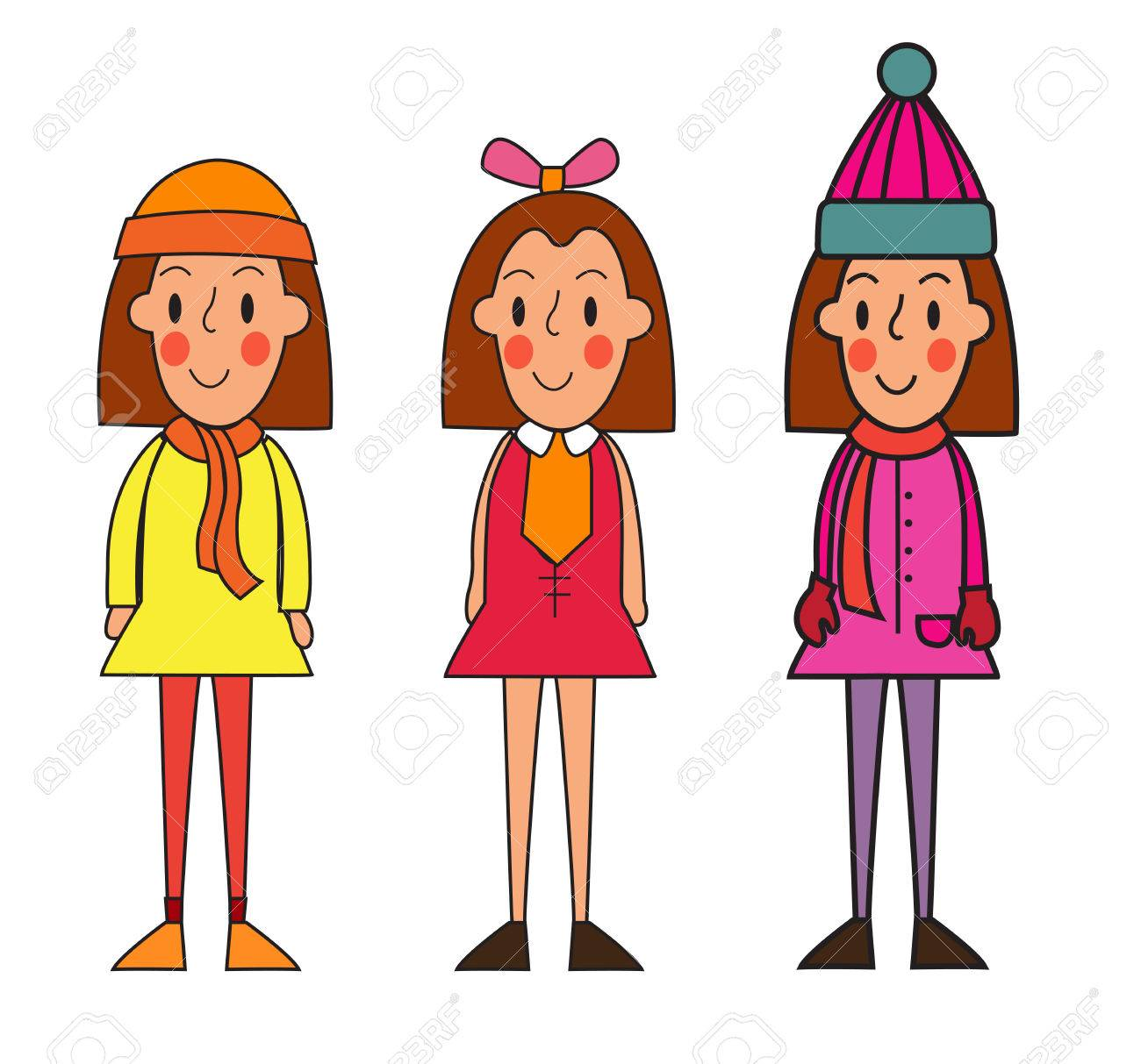e53f1651df9 Cute cartoon girl in of clothes for different seasons   spring