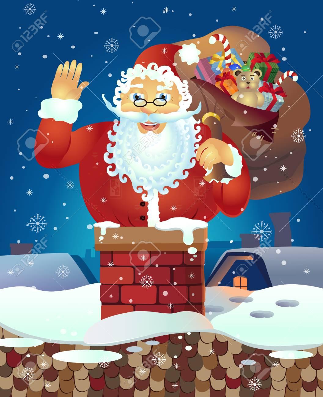 Weihnachtsmann Mit Geschenken Und Auf Dem Dach Lächelnd Und Stieg In ...