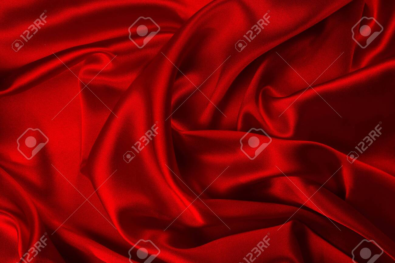 Red silk or satin luxury fabric texture can use as abstract background. Top view. - 136480252