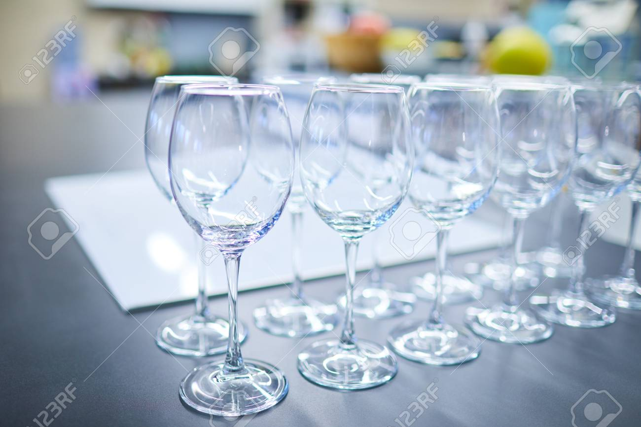 set of wine glasses on a buffet - 82921827