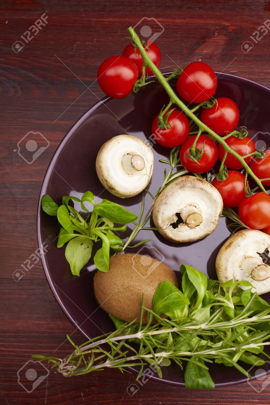 healthy eating fresh vegetables and fruits mushrooms - 82921843