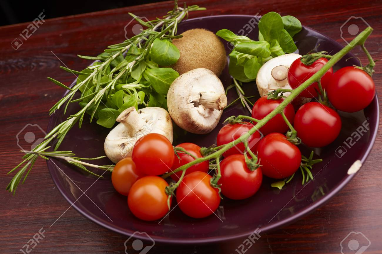 healthy eating fresh vegetables and fruits mushrooms - 82922290